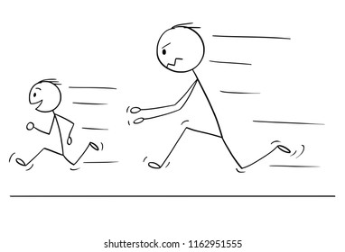 Cartoon stick drawing conceptual illustration of frustrated and angry father chasing naughty and disobedient son.