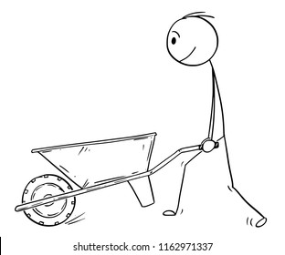 Cartoon stick drawing conceptual illustration of man pushing empty wheelbarrow.