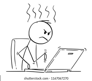 Cartoon stick drawing conceptual illustration of angry man or businessman working and typing on laptop computer.