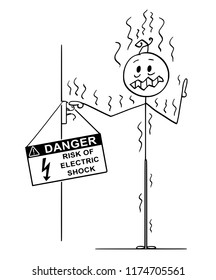 Cartoon stick drawing conceptual illustration of man touching uninsulated conductors coming from wall and got high voltage electric power shock.