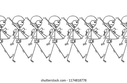 Cartoon stick drawing conceptual illustration of modern soldiers marching on parade or in to war. Concept of militarism. Tileable image.
