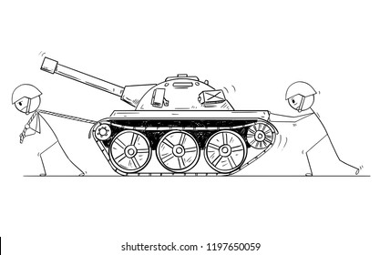 Cartoon stick drawing conceptual illustration of two soldiers pushing and pulling broken or malfunction tank.