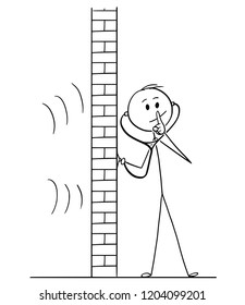 Cartoon stick drawing conceptual illustration of man using stethoscope or phonendoscope to hear and spy what happens behind wall and showing silence gesture with finger on his lips.