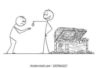 Cartoon stick drawing conceptual illustration of haughty or arrogant man or businessman with chest full of money giving one coin to humbled beggar or supplicant.