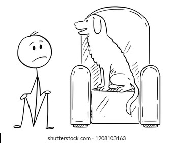Cartoon stick drawing conceptual illustration of unhappy man sitting on ground because his dominant dog pet is occupying the armchair.
