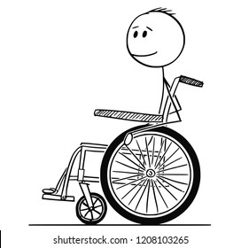 Cartoon stick drawing conceptual illustration of smiling disabled man man sitting on a wheelchair.