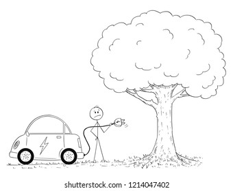 whos in charge stock vectors images vector art shutterstock Repurpose Electric Motor Project cartoon stick drawing conceptual illustration of man who wants to charge his electric car in nature