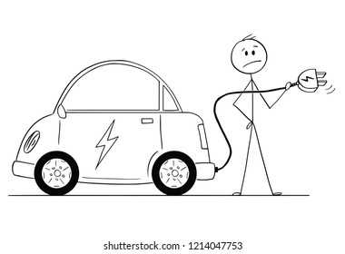 Cartoon stick drawing conceptual illustration of man holding cable and who wants to charge his electric car.