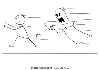 Cartoon stick drawing conceptual illustration of frightened man running away from ghost. Halloween theme.