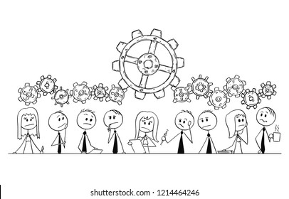 Cartoon stick drawing conceptual illustration of group of nine business people, businessmen and businesswomen thinking about problem during team meeting or brainstorming. Cogwheels above them as