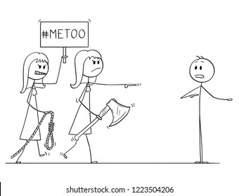 Cartoon stick drawing conceptual illustration of two woman with me too or metoo sign going to lynch and execute man without trial. Concept of injustice and criminalization by social media.