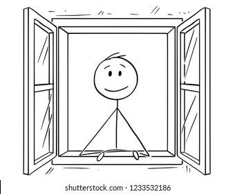 Cartoon stick drawing conceptual illustration of man looking through open window.