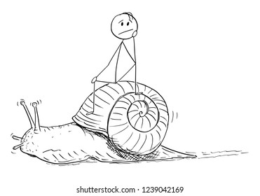 Cartoon stick drawing conceptual illustration of frustrated man or businessman sitting on the shell of snail and moving slow. Metaphor of slow progress and long waiting.