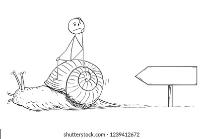 Cartoon stick drawing conceptual illustration of frustrated man or businessman sitting on the shell of snail and moving slow. Metaphor of slow progress and long waiting. There is empty sign for your