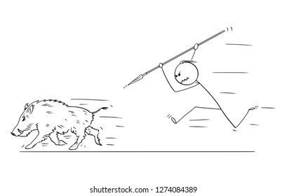Cartoon stick drawing conceptual illustration of prehistoric or medieval man or hunter chasing and hunting wild boar with spear.