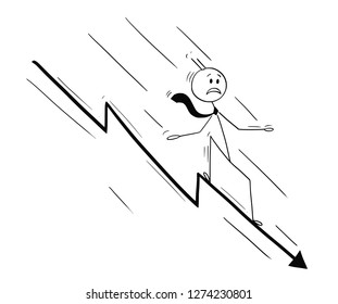 Cartoon stick drawing conceptual illustration of businessman riding on chart arrow falling od declining down. Business metaphor of crisis or failure.