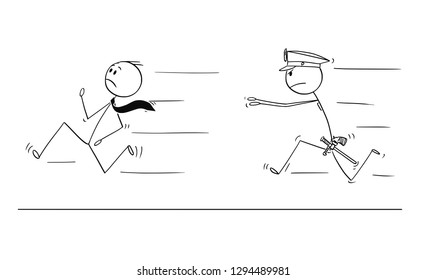 Cartoon stick drawing conceptual illustration of businessman running from policeman chasing or catching him.