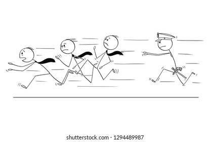 Cartoon stick drawing conceptual illustration of group of businessmen or gang running from policeman chasing or catching him. Concept of organized crime.