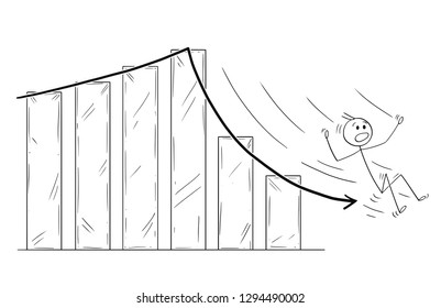 Cartoon stick drawing conceptual illustration of businessman slipping or sliding down the falling financial or business chart arrow.