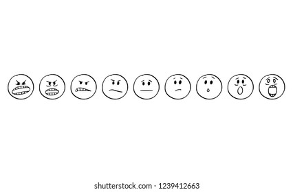 Cartoon stick drawing conceptual set of illustrations of emoticon faces showing range of emotions from aggression or aggressive to scare, fear or fright.