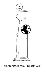Cartoon stick figure drawing conceptual illustration of statue of egoist selfish man on pedestal standing on conquered world globe and pointing at yourself.