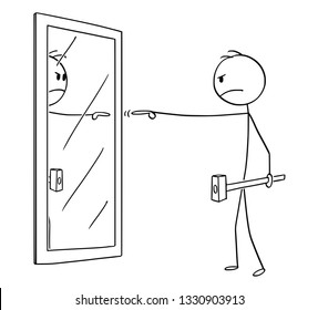 Cartoon stick figure drawing conceptual illustration of angry man with hammer pointing and blaming himself or his reflection in mirror.