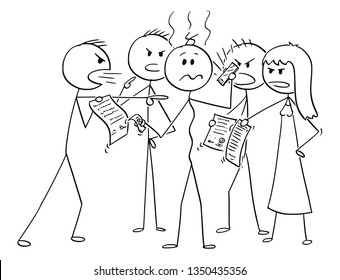 Cartoon stick figure drawing conceptual illustration of depressed man in debts surrounded by group of debtors asking for money return. Concept of financial responsibility.