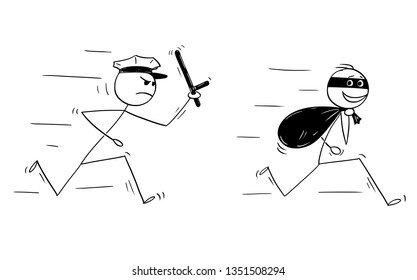 Cartoon stick figure drawing conceptual illustration of smiling thief running with bag of loot and policemen chasing him.