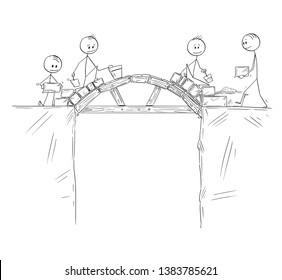 Cartoon stick figure drawing conceptual illustration of group of builders or workers or businessmen working and building a bridge over the chasm or precipice. Concept of teamwork and problem solution.
