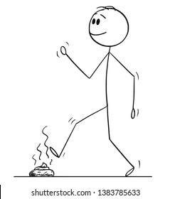 Cartoon stick figure drawing conceptual illustration of man walking happily and stepping his foot on the dog excrement or poop or stool or shit.