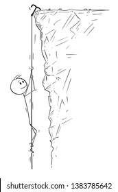 Cartoon stick figure drawing conceptual illustration of mountain climber or man or businessman climbing the mountain, rock or cliff. Extreme sport illustration.