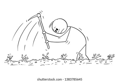 Cartoon stick figure drawing conceptual illustration of hard working poor farmer with hoe on the field.