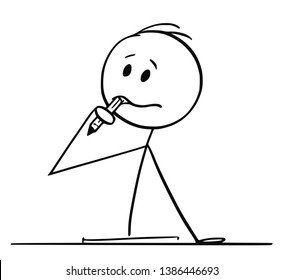 Cartoon stick figure drawing conceptual illustration of man sitting behind office desk and trying to write something and thinking hard with pencil in mouth.