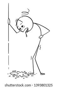 Cartoon stick figure drawing conceptual illustration of drunk or drunken or sick man vomit, throw up or puke.