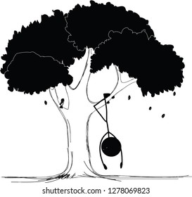 Cartoon stick man dangle head under the tree drawing doodle style, tired of loneliness ,tired ,alone, stick figure sketch ,Vector illustration