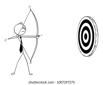 Cartoon stick man drawing conceptual illustration of businessman with bow shooting at target or clout. Business concept of motivation and determination.