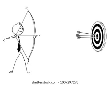 Cartoon stick man drawing conceptual illustration of successful businessman with bow shooting at target or clout, with three hits in center. Business concept of motivation, determination and success.