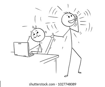 Cartoon stick man drawing conceptual illustration of businessman or office worker disturbed by mobile phone calling colleague .