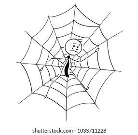 Cartoon stick man drawing conceptual illustration of businessman trapped in spider web. Business concept of competition, risk and fail.