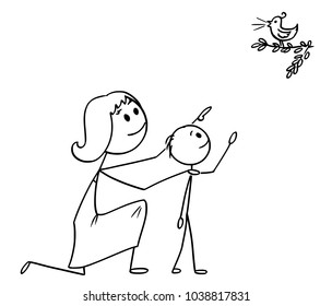 Cartoon stick man drawing conceptual illustration of Mother and son watching together a wild bird in the nature.