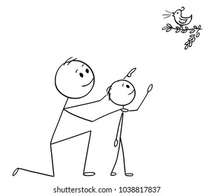Cartoon stick man drawing conceptual illustration of father and son watching together a wild bird in the nature.