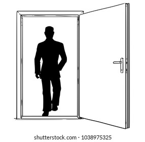 Cartoon stick man drawing conceptual illustration of open modern door and businessman silhouette walking through or incoming. Business concept of decision, risk and challenge.