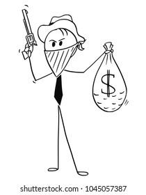 Cartoon stick man drawing conceptual illustration of masked businessman cowboy with stolen bag of dollar money and gun.