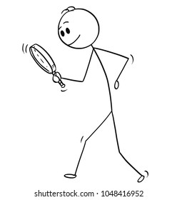 Cartoon stick man drawing conceptual illustration of businessman searching for something with magnifying hand glass or magnifier. Business concept of looking for answer and solution.