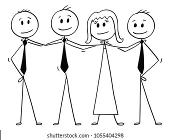 Cartoon stick man drawing conceptual illustration of team of business people standing and holding each other shoulders. Business concept of teamwork, success and cooperation.
