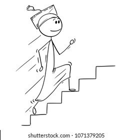 Cartoon stick man drawing conceptual illustration of graduate young man running up stairs or staircase. Concept of success, future and career.
