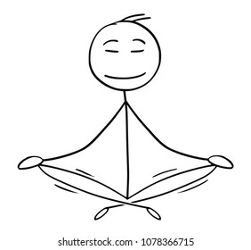 Cartoon stick man drawing conceptual illustration of businessman sitting in yoga lotus position for relaxation and meditation. Concept of healthy lifestyle.