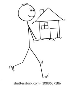 Cartoon stick man drawing conceptual illustration of businessman holding small house in hands. Business concept of mortgage and real estate investment.