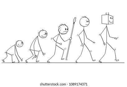 Cartoon stick man drawing conceptual illustration of human evolution process progress. Modern human successor is artificial intelligence robot or ai.