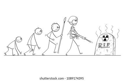 Cartoon stick man drawing conceptual illustration of human evolution process progress. Modern human with no successor because of nuclear war.